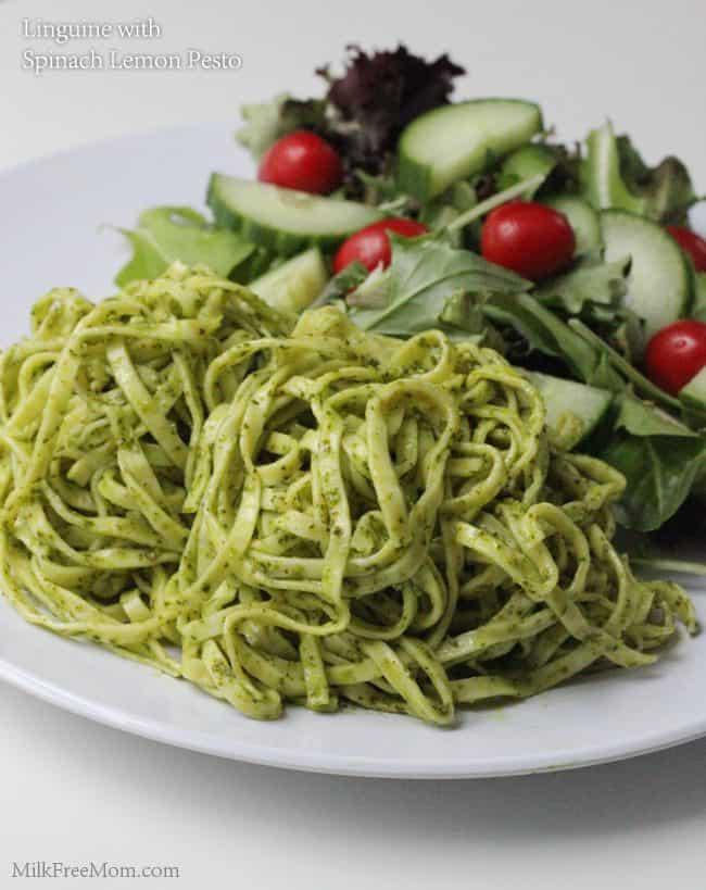 Linguine with Dairy Free Spinach Lemon Pesto