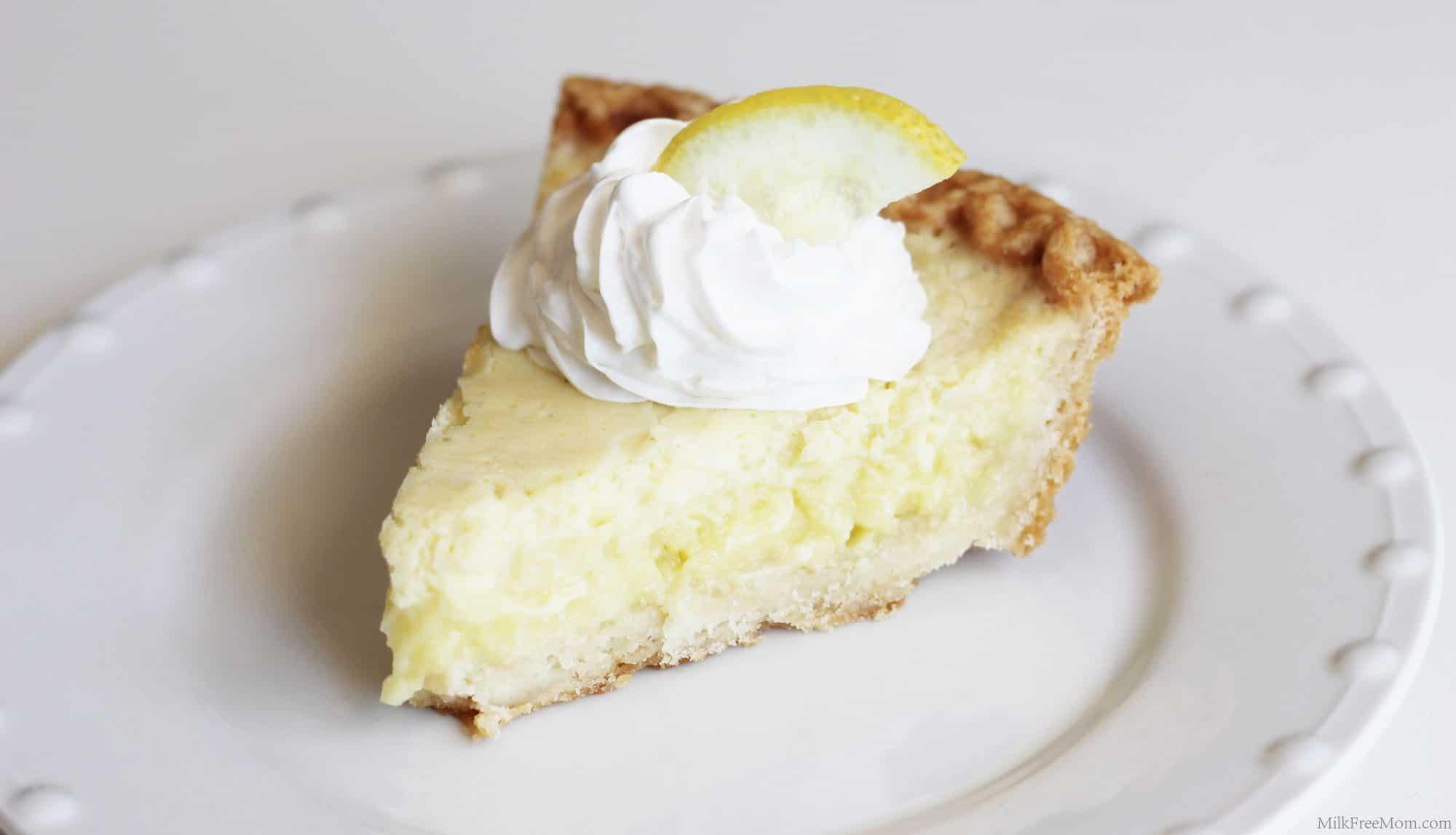 Dairy Free Lemon Custard Pie