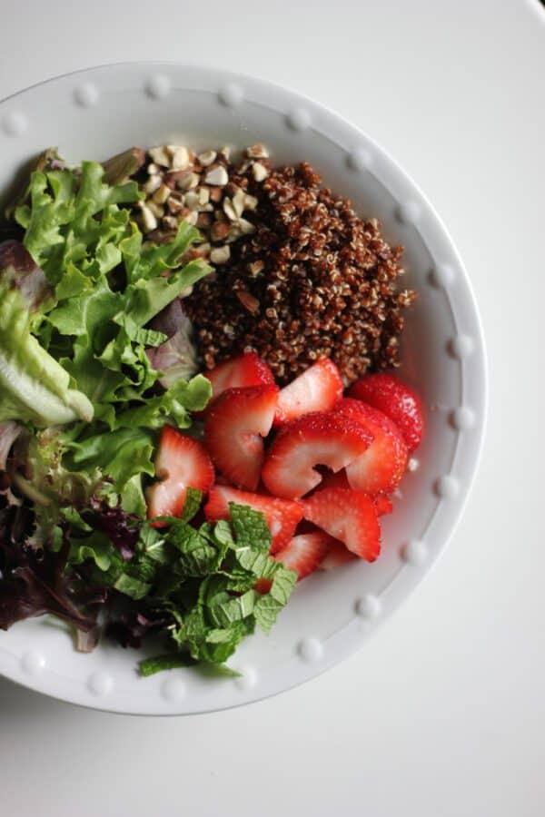 vegan strawberry mint quinoa salad