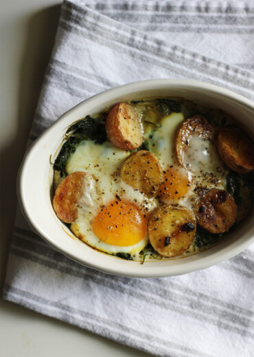 dairy free eggs baked with spinach and potato
