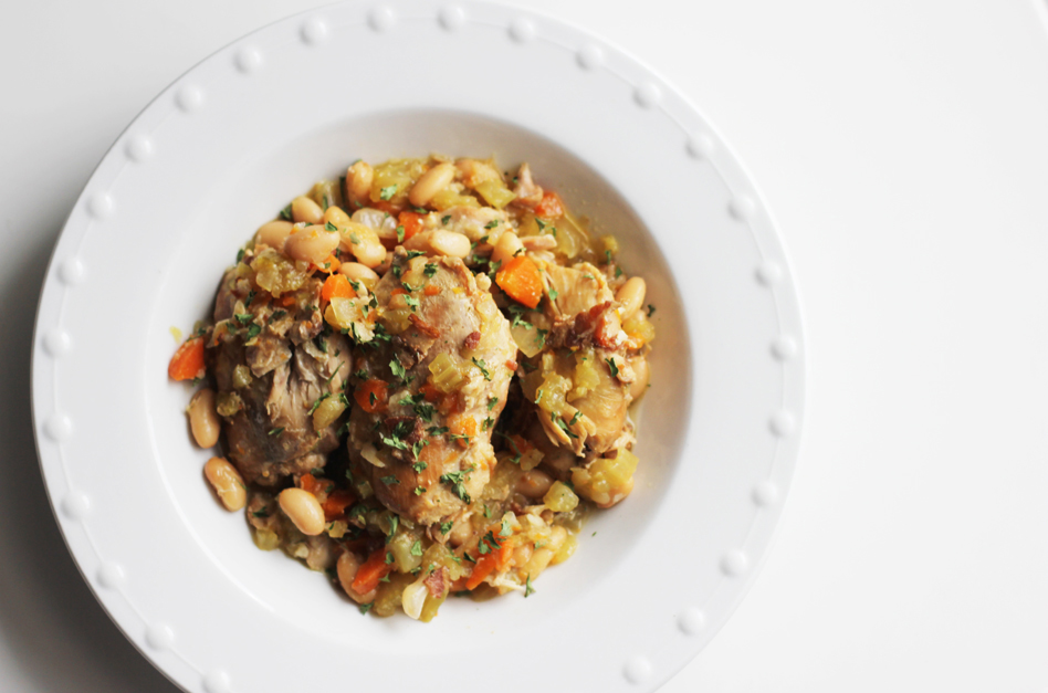 dairy free chicken with white beans and wine